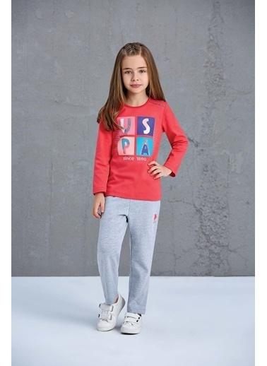 U.S. Polo Assn. Us Polo Assn Lisanslı Kız Çocuk Pijama Takımı Nar Çiçeği Kırmızı